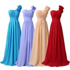 Chic One Shoulder Long Flowers Prom Gown Bridesmaid Wedding Evening Party Dress