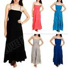 New Womens Ladies Thin Strap Linen Summer Boho Maxi Dress Size S M L XL XXL 8 10