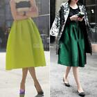 #gib Retro Women High Waist Elastic Flared Pleated Full Skirt Long Puffy