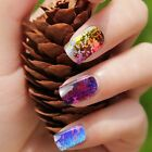 BMC Rainbow Foil Color Paint Splatter Design Nail Polish Art Sticker Wrap Strips