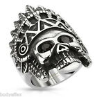 BOLD MENS 316L STAINLESS STEEL SILVER APACHE HEADRESS SKULL RING WITH ONYX EYES