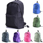 Mens Girls Unisex Canvas Laptop Bag Plain Color Travel Work Casual Backpack