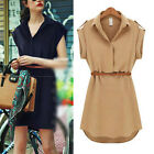 Elegance Loose short-sleeved shirt Skirt Mini dress chiffon Knaki/Navy Size 8-16