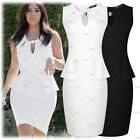 Women Vintage Casual Cocktail Party Business Office Peplum Cut Out  Pencil Dress