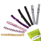 BMC 8 pc Multicolor Assorted Decorative Design Elastic Ribbon 1.5 cm Hair Ties