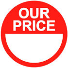 Blank Red Our Price Stickers / Sticky Swing Tag Labels 20mm to 45mm Price Point