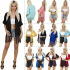 New Womens Ladies Plain Chiffon Kimono Batwing Tassel Open Cardigan Size 8 S M L