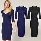 Vintage Womens Party Wear To Work Business Cocktail Sheath Bodycon Pencil Dress
