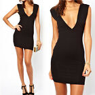 Women's Deep V Neck Backless Sexy Mini Dress Sleeveless Cocktail Party Clubwear