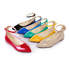 Womens Ladies Flats Classic Pumps Ponited Casual Ankle-Strap Shoes AU Size 4-7.5