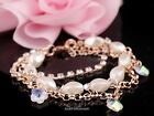 1pc Hot! Korean Style Pearl&Rhinestones Crystal Flower Charms Link Bracelet