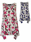 Womens Plus Size Slouch Ft Vest Top Printed Floral Blue Pink Ladies New Sz 16-32