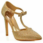 NEW Womens Gold High Heel Ankle Strap Bow Pointed Toe Evening Heels Shoe Size