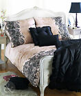 100% Cotton Sateen Duvet Quilt Cover - Printed Lace Gold Cream Black Bedding Set
