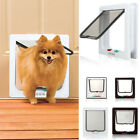 New White Frame 4 Way Locking lockable Pet Cat Small Dog Flap Door S M L 3 SIZES