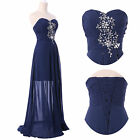 2014 Beaded Long Split Evening Formal Bridesmaid Wedding Gown Prom Party Dress q