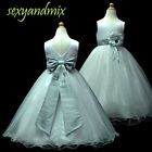 USM3D59B Silver Grey Baby Christening Gown Pageant Flower Girls Dress 1 to 13Yrs