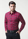 Luxury Mens Grid Casual Shirts Business Dress Shirts Leisure Solid Comfort Tops