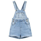 js15 Celebrity Style Vintage White Wash Womens Denim Overall Shorts