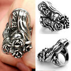 Chic Punk Gothic Mens 316L Stainless Steel Rose Beauty Witch Skull Rings Jewelry