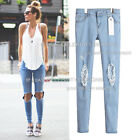 jn38 Celebrity Style Super Low-rise Skinny Leg Ripped Knee Jeans Pants