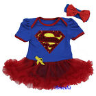 Halloween Baby Supergirl Costume Pettiskirt Bodysuit Romper Tutu Party Dress