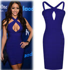 Womens Sexy Hollow Front Cross Halter Package Hip Bodycon Party Cocktail Dress