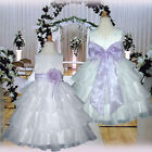 USM1D75 Lilac Formal Communion Baby Christening Flower Girls Dress 1 to 14 Yrs