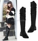 Ladies Punk Emo Lace Up Buckle Strap Side Zip Over The Knee Boots Shoes A518