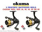 2 OKUMA PROFORCE BAITFEEDER REELS FOR CARP PIKE FLOAT FEEDER MATCH SPINNING ROD
