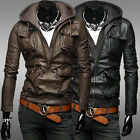 New Men's Black/ Brown Slim Fit PU Leather Hooded Motorcycle Pocket Jacket Coat