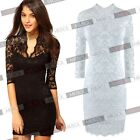 Women's Black White Lace Tunic Sexy V Neck Slim Cocktail Party Dresses US 0-18