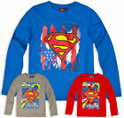 Boys Superman T Shirt Long Sleeve Kids Tee Top Blue Red New Age 3 4 6 8 Years