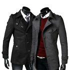 New Mens Fashion Small Lapel Woolen Jacket Business Casual Slim Long Trench Coat