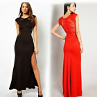 New Lace Patchwork Women's Split Full Length New Evening Dress UK Local Postage