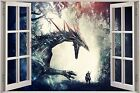 Huge 3D Window Fantasy Dragon Prey View Wall Stickers Decal Mural