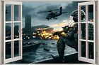 Huge 3D Window Army Fighters Planes View Wall Stickers Decal Wallpaper Mural