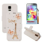 3D Bufferfly&Love PU Wallet Flip Stand Case Cover For Samsung Galaxy S5 V i9600