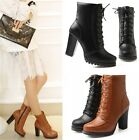 Womens Ladies Lace Up Side Zip High Heel Platform Ankle Boots Shoes Black/Brown