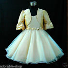 B875 Beige Gold Christening Wedding Flower Girls Dress + Cardigan Set SIZE 8-10Y
