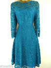NEW KALIKO SKATER DRESS FIT & FLARE LACE TEAL PARTY SIZE 10 12 14 16 18 20
