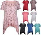 Womens Printed Short Sleeve Ladies Stretch Lace Trim Uneven Hem Top Plus Size