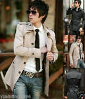 Men Slim Fit Fashion Front Button Trench Coat Jacket