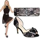 Women's Smart Clutch Bag Ladies Lace Contrast Bow Peep Toe Diamante Heels