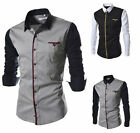 Mens Patchwork Slim Fit Tee Shirts Fashion Casual Shirt Long Sleeve Dress Shirts