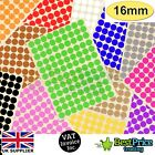 216 x 16mm Coloured DOT STICKERS Round Sticky Adhesive Spot Circles Paper Labels
