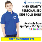 NEW Personalised Uneek Embroidered  Kids Polo Shirts, Workwear, Customised Polos