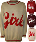New Womens Girl Slogan Stripe Long Sleeve Sweater Top Ladies Knitted Jumper 8-14