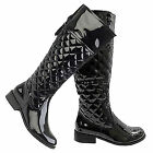 Women Ladies Flat Knee High Quilted Leather Patent Riding Boots Shoes UK size
