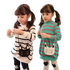 Girls Kids Top Shirt Dress Leggings Pants Outfits Striped Funny Cat 3-8Y Clothes